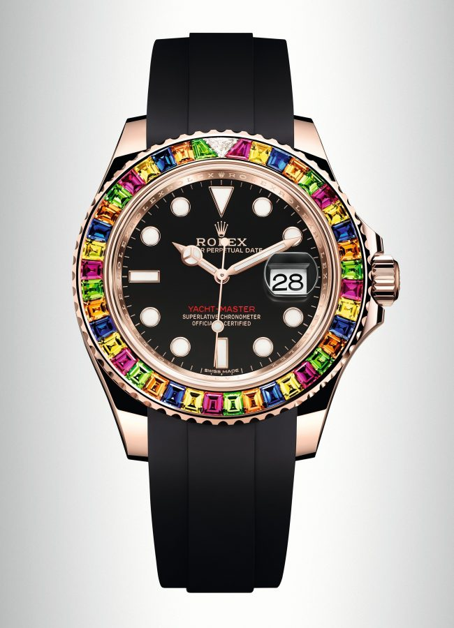 Rolex, Yacht Master with coloured sapphires, green tsavorites and triangular diamond