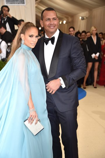 Jennifer Lopez and Alex Rodriguez wears Piaget jewellery and watch at the Metropolitan Museum of Art's annual Costume Institute Gala (Photo by Kevin Mazur/WireImage)