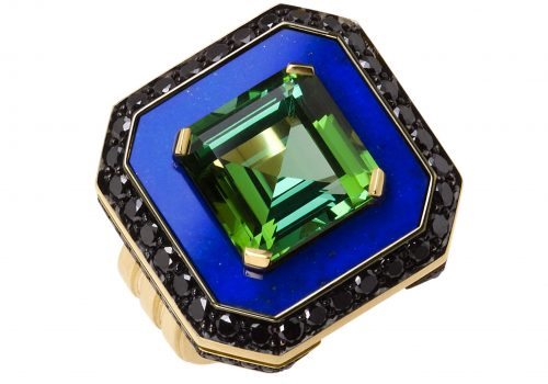 Lapis Pool Ring: Tourmaline, lapis lazuli, black diamond, 18ct yellow gold