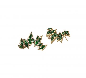 Palm Tree Cuffs 5.05cts tsavorite in 18ct yellow gold