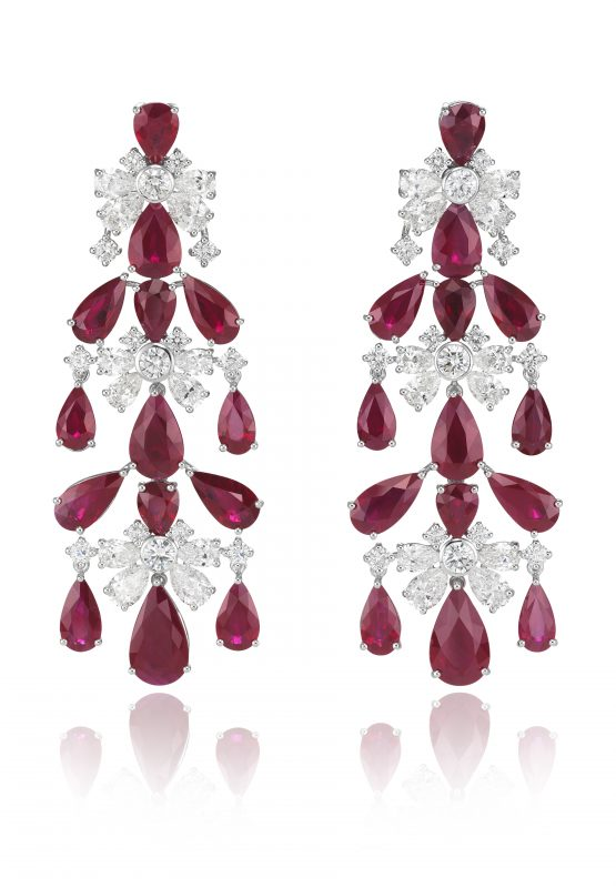 Chopard Chandelier earrings set with pear-shaped rubies and diamonds