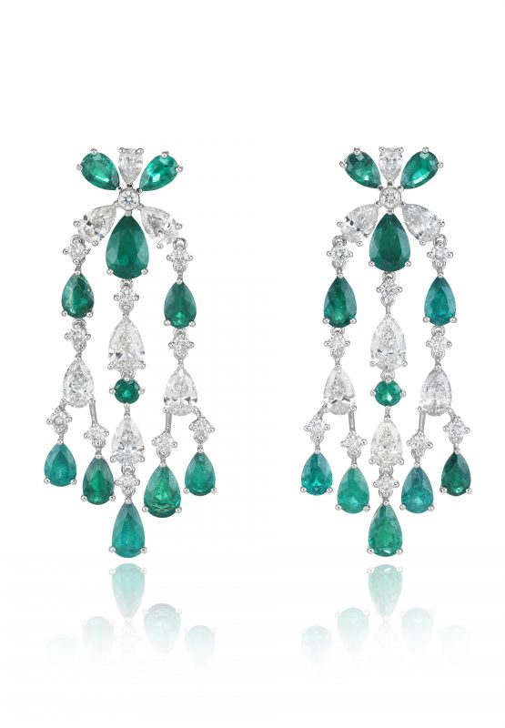 Chopard Chandelier earrings set with pear-shaped emeralds and diamonds and brilliant-cut diamonds