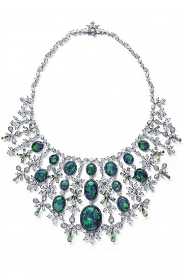 Chopard necklace set with 48.8cts marquise cut diamonds, 13cts brilliant cut diamonds, pear-shaped tourmalines and oval black opals.
