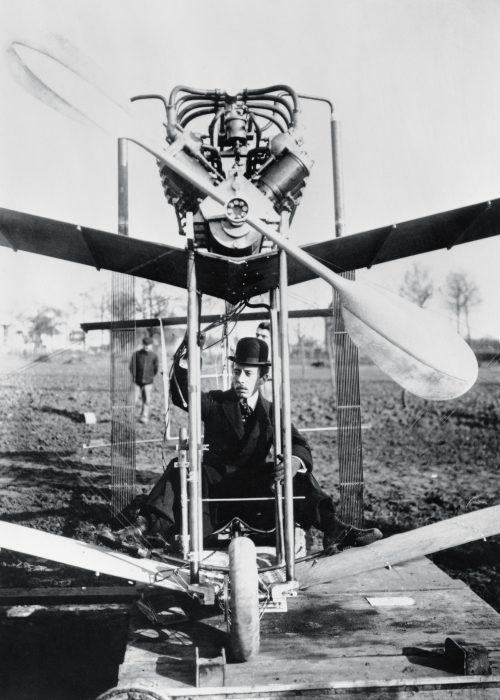 Alberto Santos Dumont on a plane
