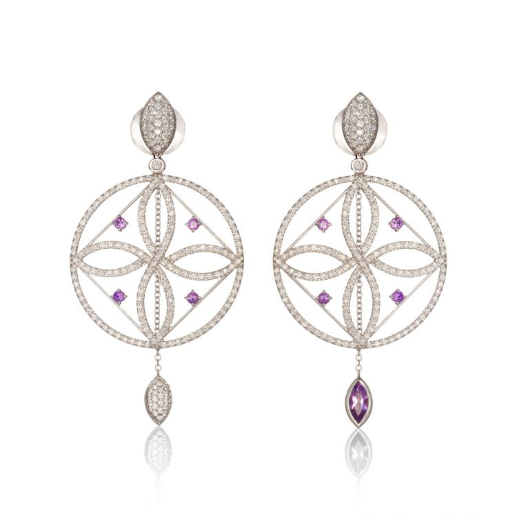 Damali earrings with diamonds and amethyst