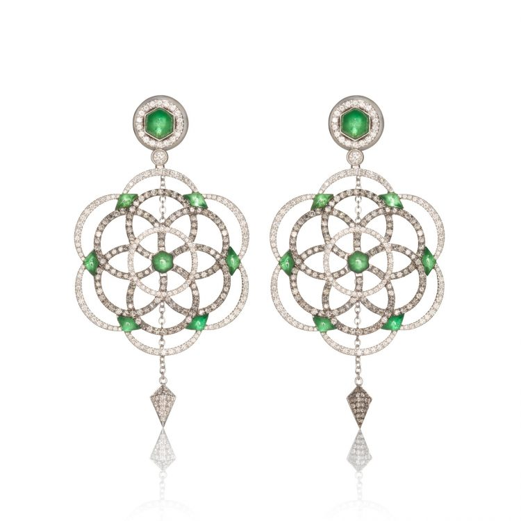 Damali earrings with grey diamonds and tsavorites