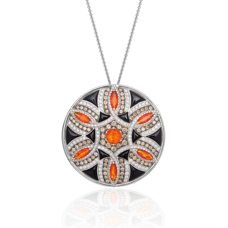 Damali pendant with fire opal, cognac diamond and onyx