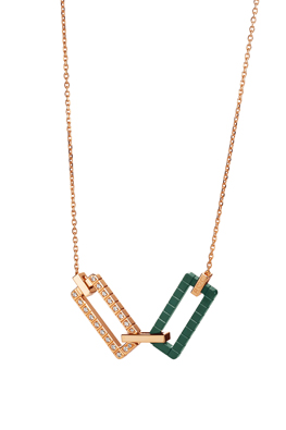 Necklace in 18ct rose ethical gold certified Fairmined and green ceramic.