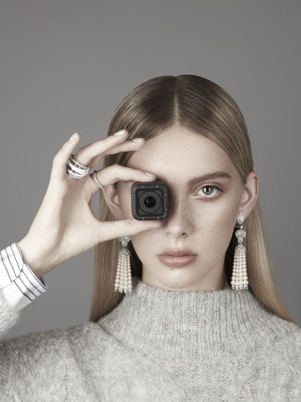 Earrings: David Morris £POA, Band ring: Fabergé £2,364, White & silver ring: De Grisogono £11,900 Jumper: Joie Shirt: Rag & Bone at Harvey Nichols