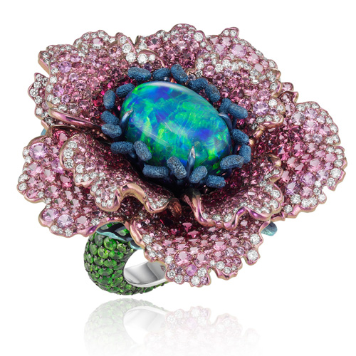 Chopard, white gold ring with magnificent opal, sapphires, spinels, garnets and diamonds