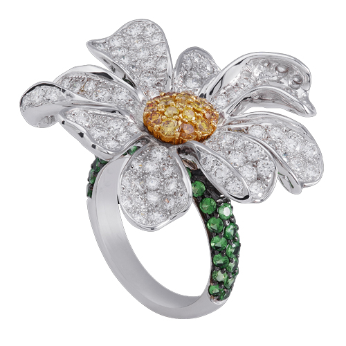 Payal Mehta, Flower Ring - 18k WT Gold, Wt, Green Yellow Diamonds
