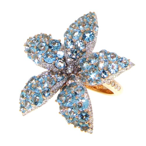 Casato, yellow gold with diamonds and blue topaz