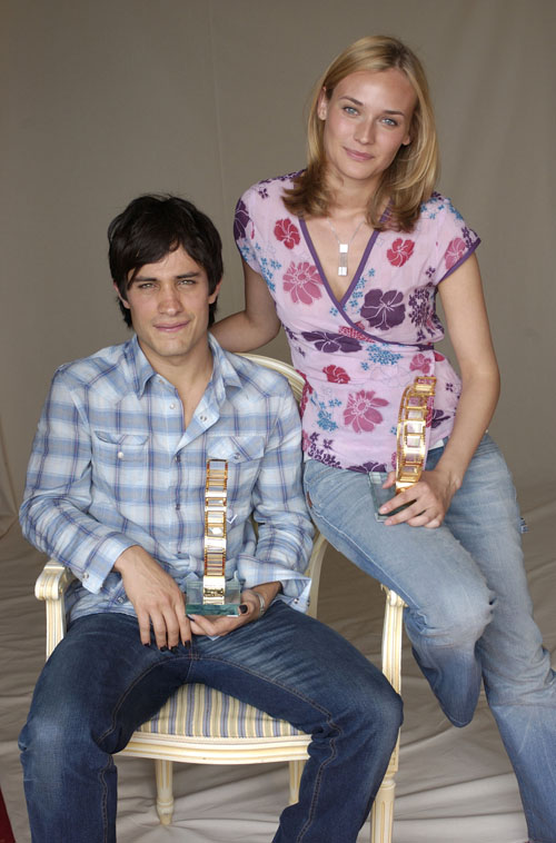 Gael Garcia Bernal and Diane Kruger during 2003 Cannes Film Festival - Chopard Trophy Portraits at Chopard Suite in Cannes, France. (Photo by J. Vespa/WireImage)