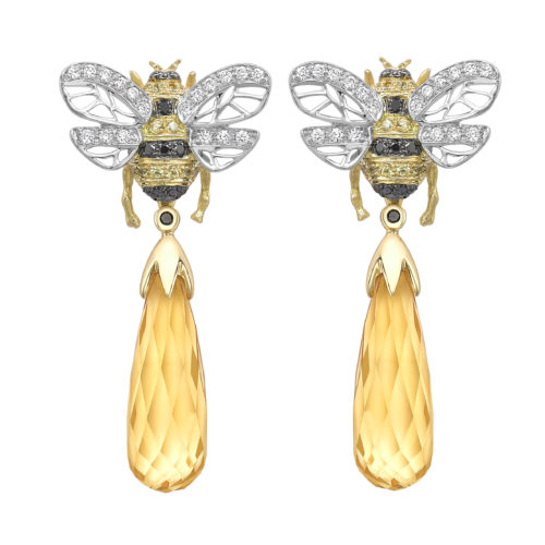 10 Theo Fennell Bee Drop earrings with citrine and diamonds