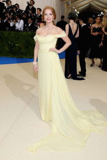 Jessica Chastain wears Piaget jewellery at the Metropolitan Museum of Art's annual Costume Institute Gala (Photo by Neilson Barnard/Getty Images)