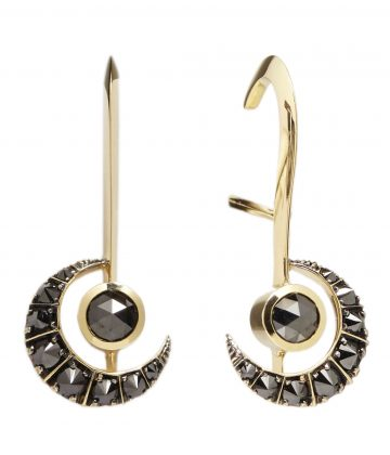 Kate Moss X Ara Vartanian 18kt yellow gold and black diamond earrings