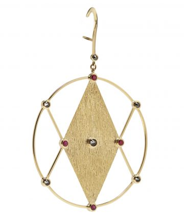 Kate Moss X Ara Vartanian 18kt yellow gold with ruby and black diamond single earring