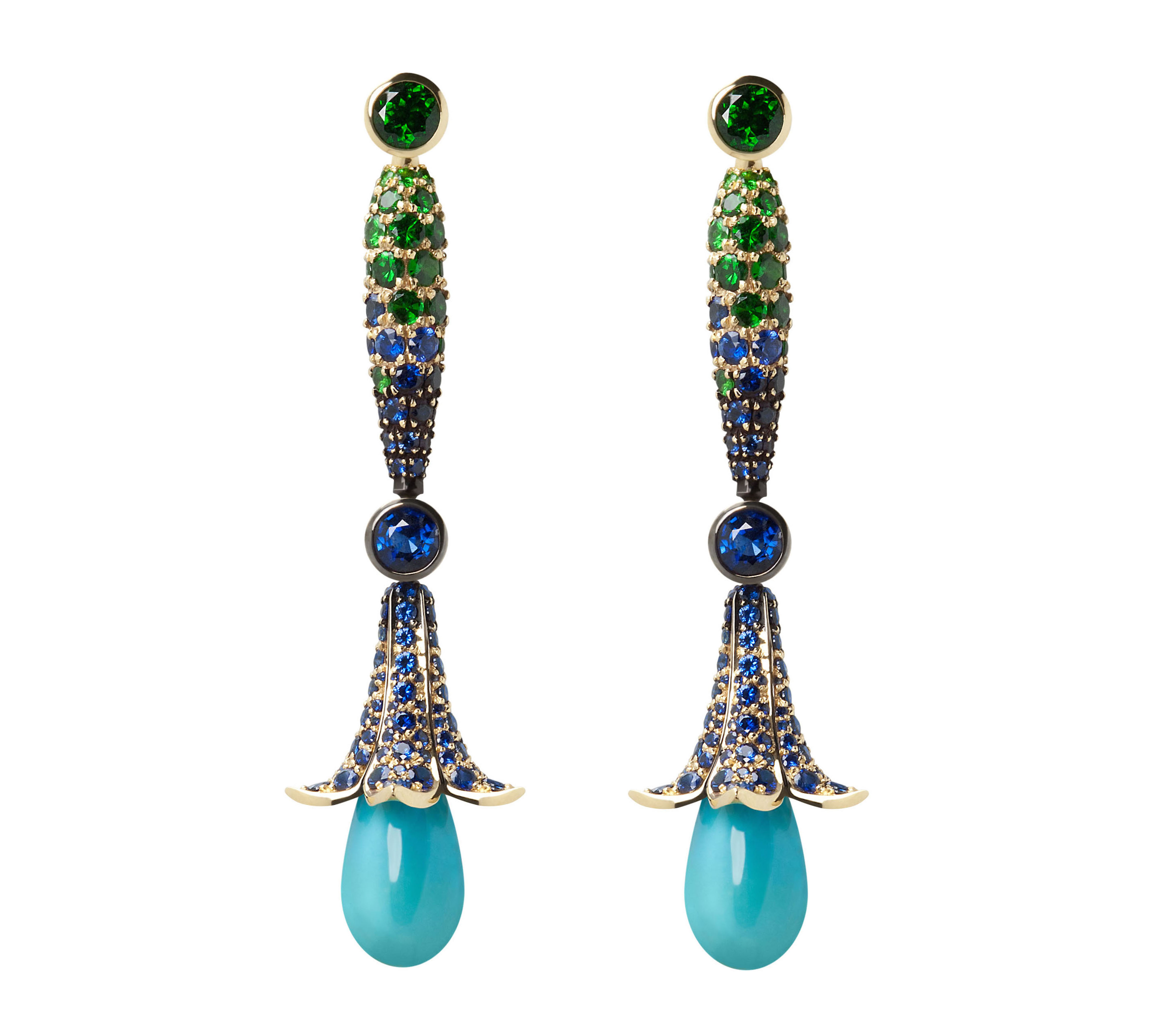 Turquoise Flower Drop earrings: Turquoise, sapphire, tsavorite, 18ct yellow gold