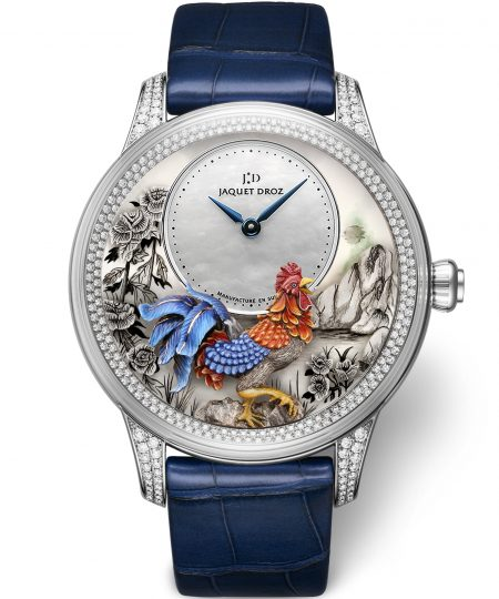 Petite Heure Minute Relief Rooster watch by Jaquet Droz