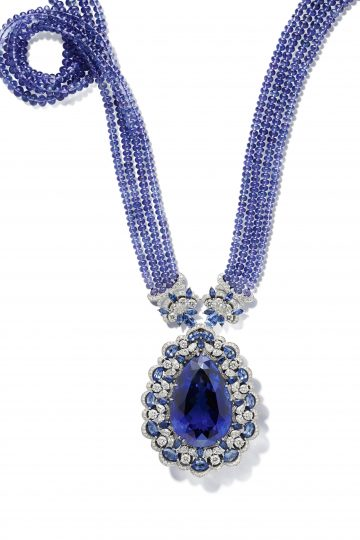 Chopard necklace set with brilliant-cut and pear-shaped diamonds, marquise-cut sapphires and pear-shaped sapphires, tanzanite beads and an exceptional 150cts pear-shaped tanzanite