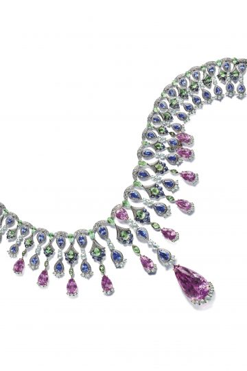 Chopard necklace set with pear-shaped kunzites and tanzanites, green pear-shaped berry and diamonds.
