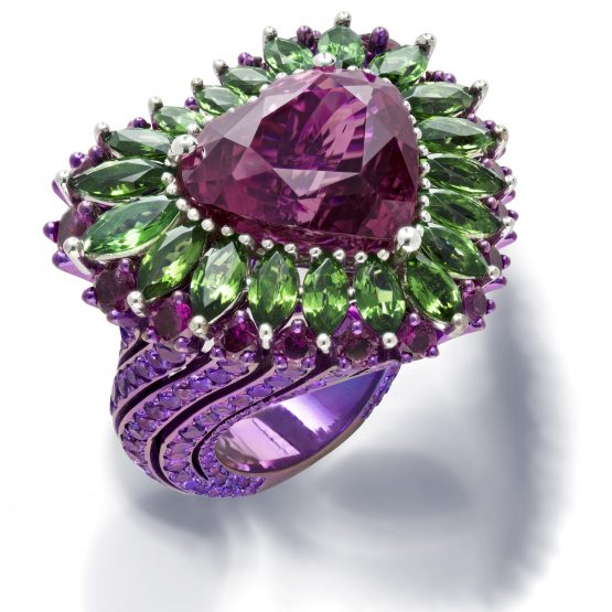 Chopard ring set with a heart-shaped rubellite, marquise-cut tsavorites and brilliant cut rubellites and amethysts