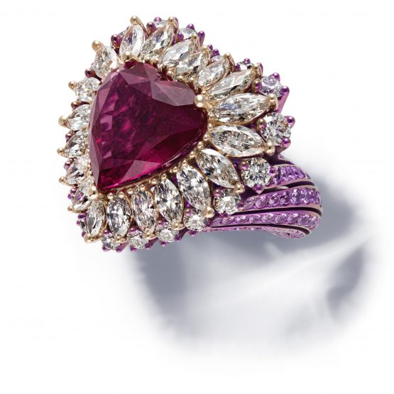 Chopard ring set with a heart-shaped rubellite, marquise-cut diamonds and brilliant-cut sapphires and diamonds