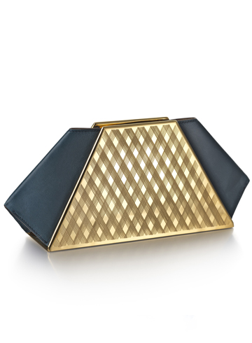 Gold clutch bag by Kyosun Jung