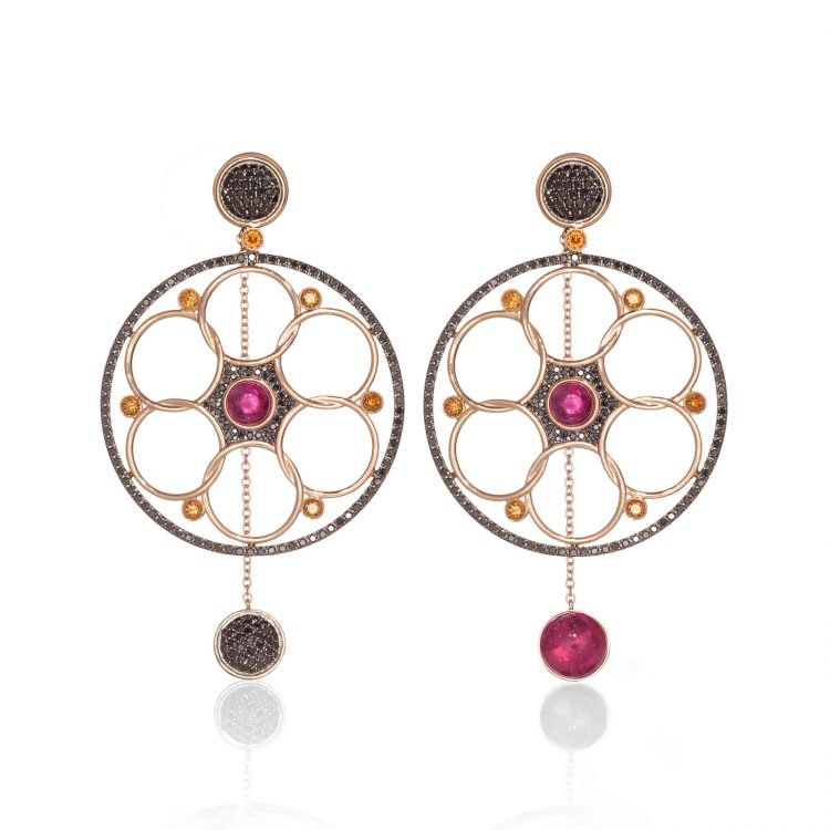 Damali earrings with black diamonds, rubellite and Palmiera topaz