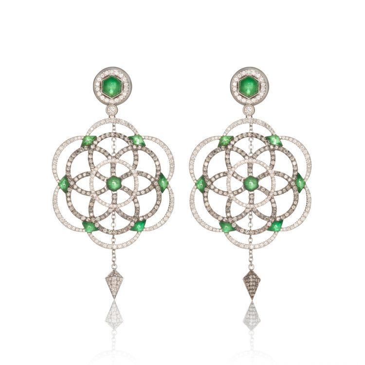 Damali earrings with grey diamonds and tsavorites