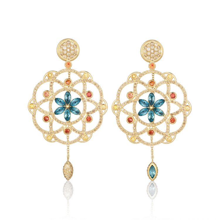 Damali earrings with cognac diamonds, orange sapphires and blue topaz