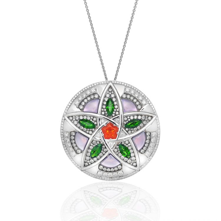 Damali pendant with fire opal, diopside, amethyst, mother of pearl and diamond