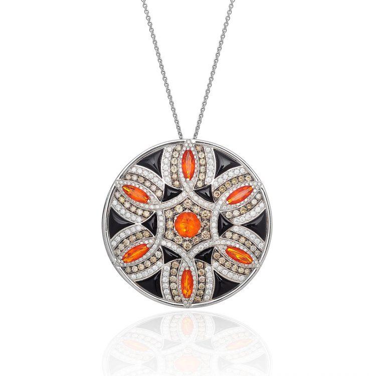 Damali pendant with fire opal, cognac diamond and onyx