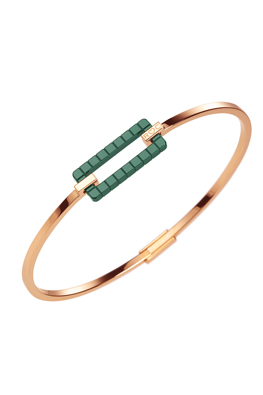 Bracelet in 18ct rose ethical gold certified Fairmined and green ceramic.
