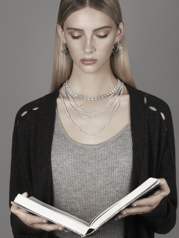 Earrings: De Grisogono £31,500 Square diamond necklace - De Beers £POA Multi-layer necklace - De Beers £POA Bodysuit: Madeleine Thompson Cardigan: Equipment