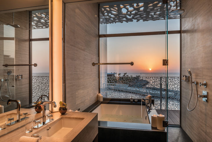 Bulgari Suite Bathroom Sunset