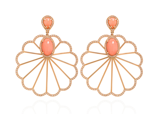 Coral Sunburst Earrings by Hasanthi Ovesen