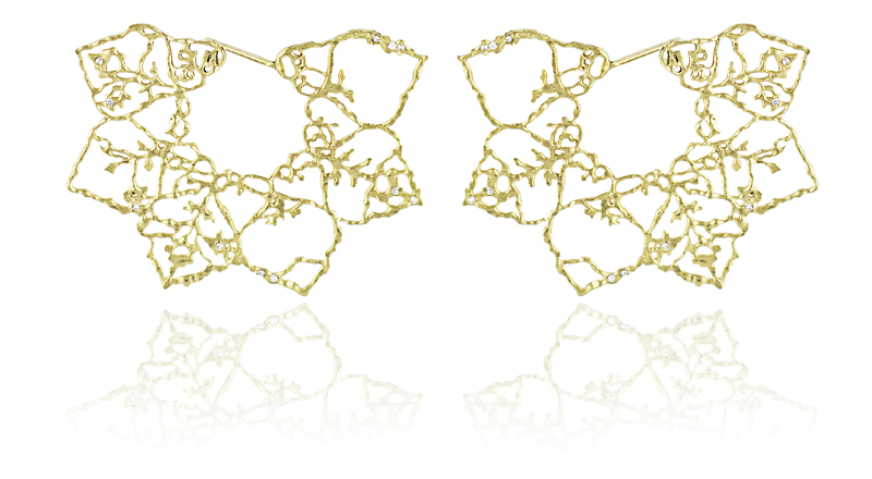 Natalie Perry, Floral Fragments, Lace Flower Earrings