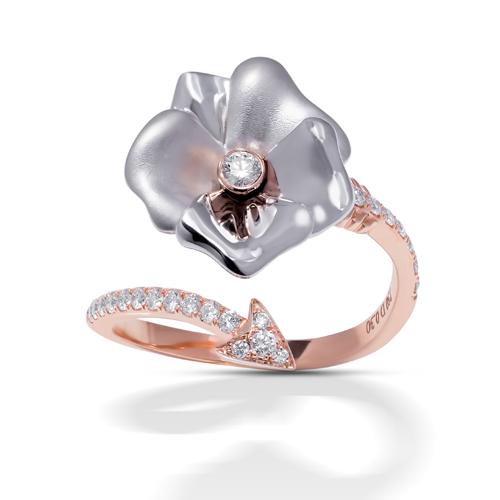 Stenzhorn, white gold rose ring