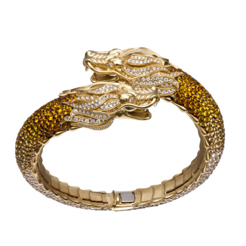 2. Carrera y Carrera Círculos de Fuego bracelet in yellow gold, yellow sapphires and diamonds