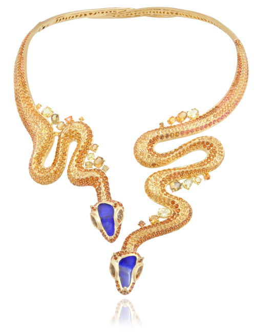 6. Lycia Courteille, gold necklace with opals, citrines, topazolites, hessonites and sapphires