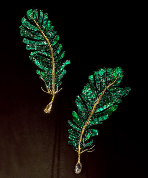 Emerald Feather Brooches