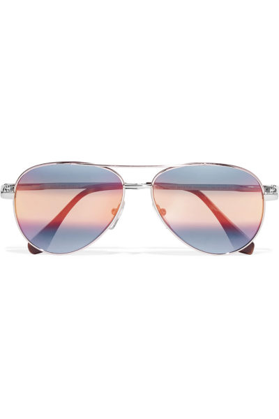 Aviator style silver toned mirrored sunglasses - Cutler and Gross