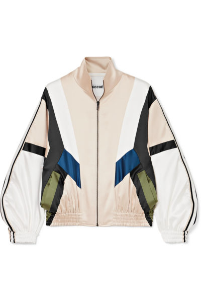 Striped paneled satin track jacket - Koche