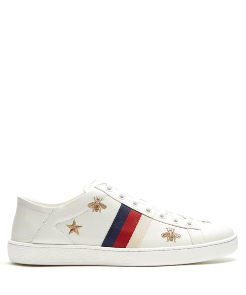 New Ace embroidered leather trainers - Gucci