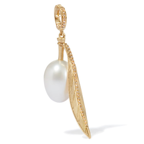 Annoushka 18ct Yellow Gold, Freshwater White Pearl & Diamond Mythology Olive Charm £895
