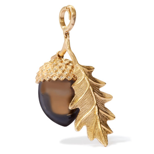 Annoushka 18ct Yellow Gold, Smoky Quartz & Diamond Mythology Acorn Charm £3,200