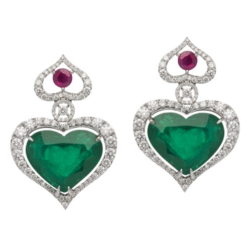 Avakian, Heart Shaped Columbian Emerald Earrings in white gold with white diamonds and crowned with two rubies