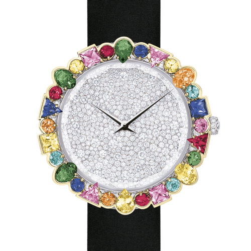 La D De Dior watch in white gold set with sapphires, tsavorite garnets, mandarin garnets, rubies and Paraiba-type tourmalines and diamonds