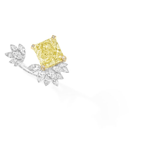 Messika, Radiant Firebird ring with one yellow diamond and marquise cut diamonds in white gold